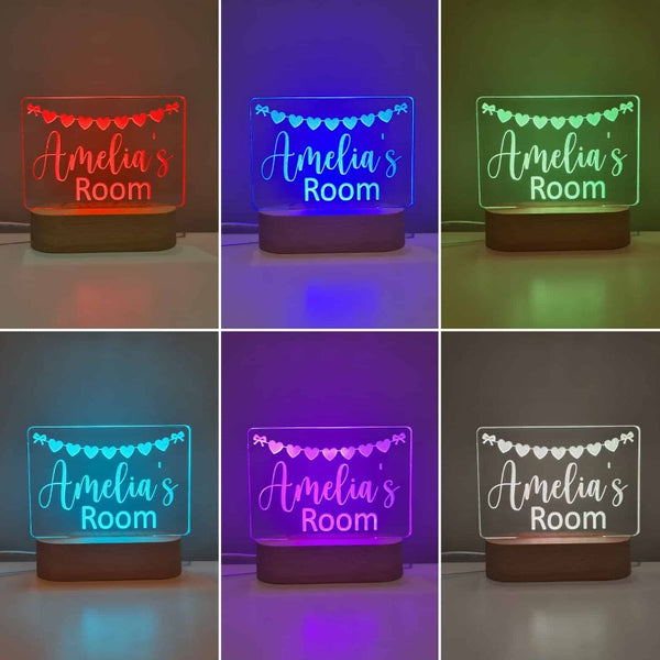 Personalised Baby Night Light - Heart Bunting