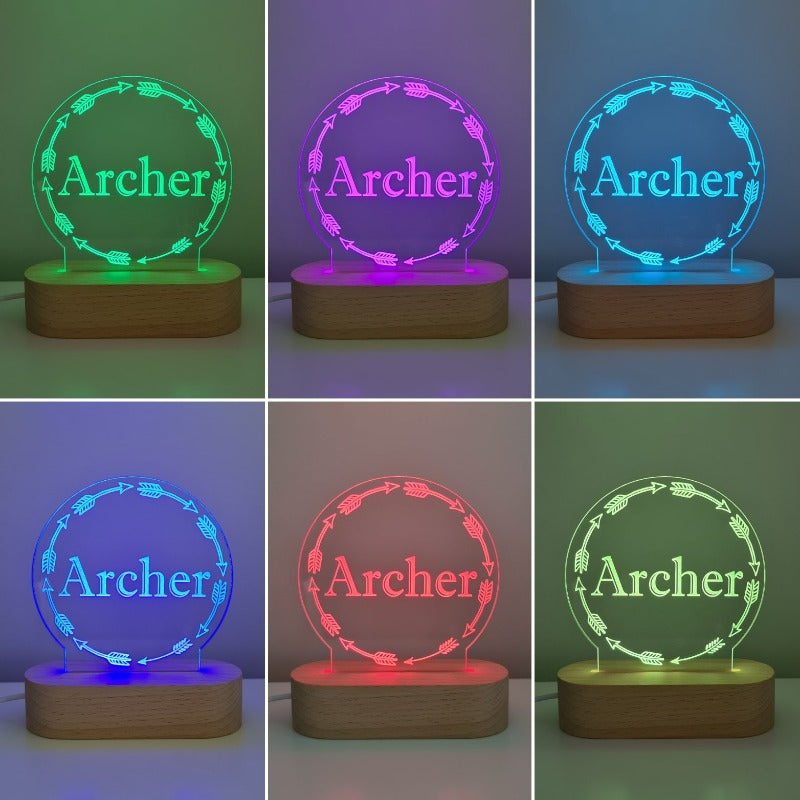Nursery Decor Night Light Custom Name Arrow
