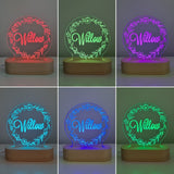 Nursery Decor Night Light Custom Name Flower