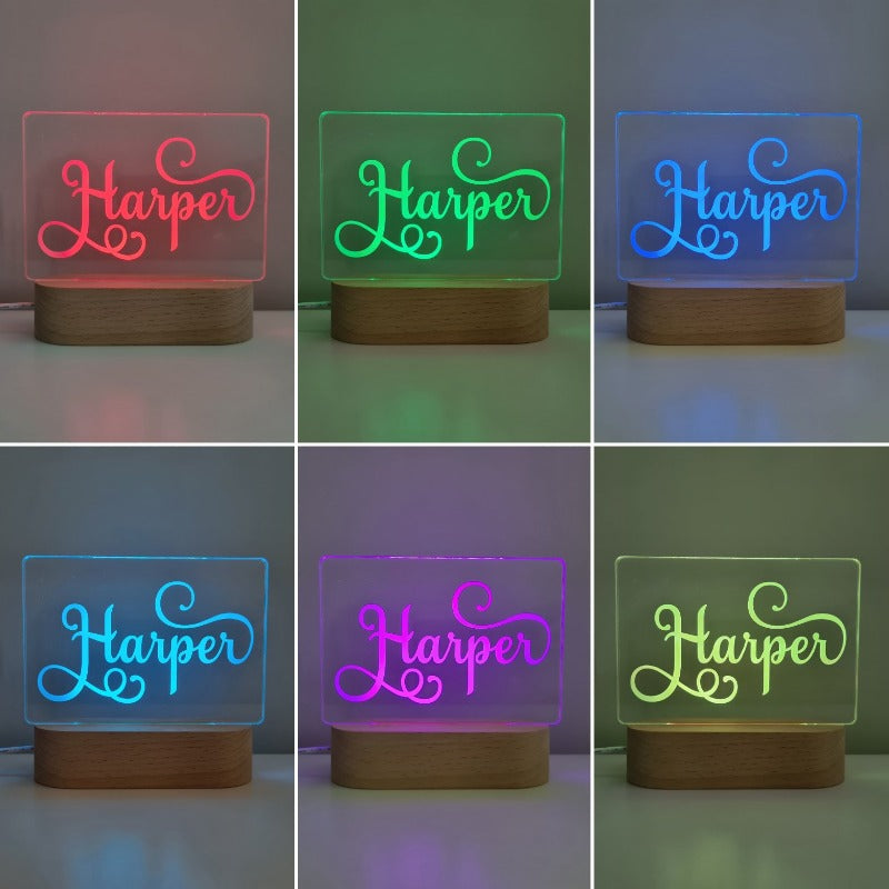 Personalised Baby Night Light - Swirl Name