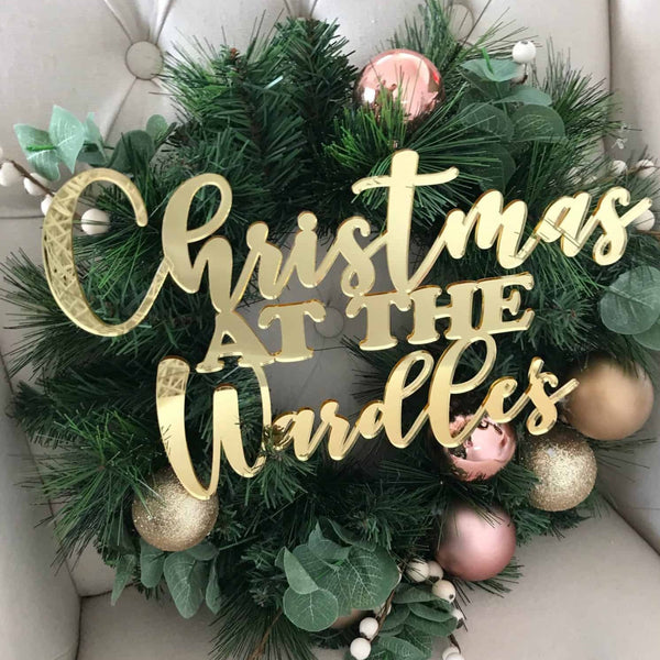 personalised chistmas wreath sign