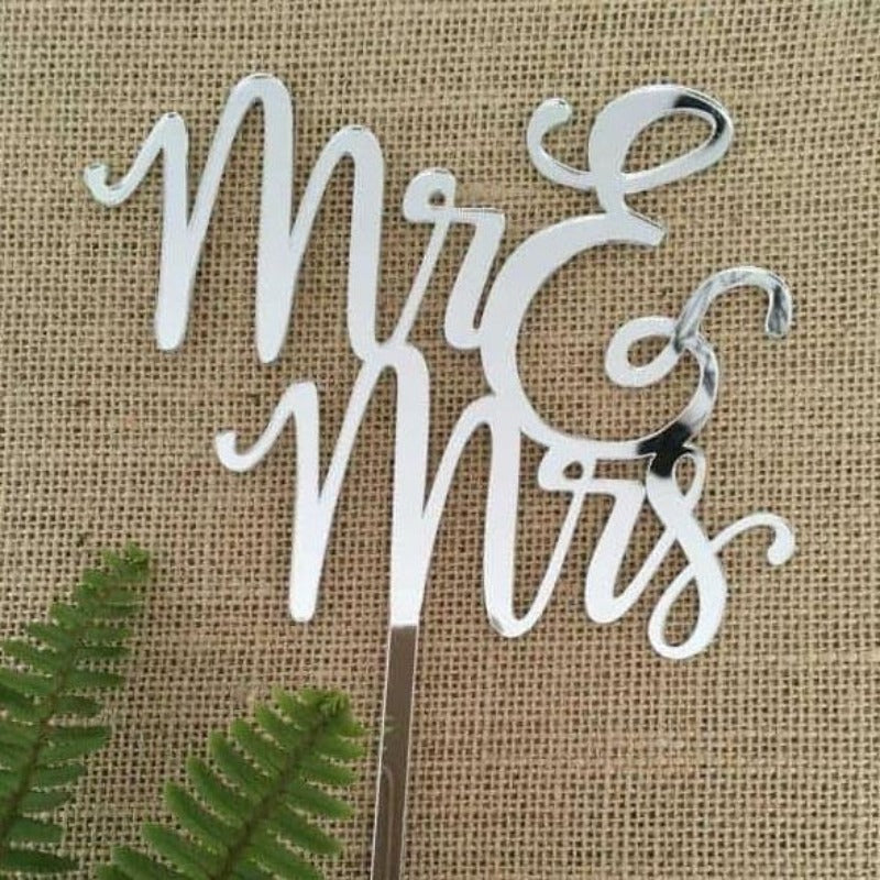 Mr & Mrs (two lines) Acrylic Silver Mirror Wedding Cake Topper