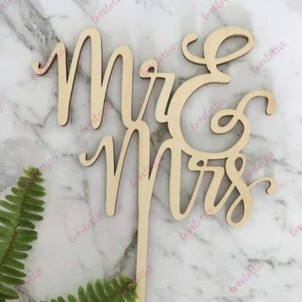 Mr & Mrs (two lines) Rustic Wood Wedding Cake Topper