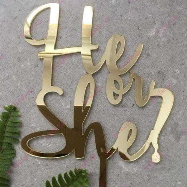He Or She Acrylic Gold Mirror Baby Gender Reveal Cake Topper
