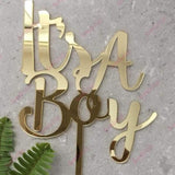 It's A Boy Acrylic Gold Mirror Baby Shower Cake Topper