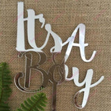 It's A Boy Acrylic Silver Mirror Baby Shower Cake Topper