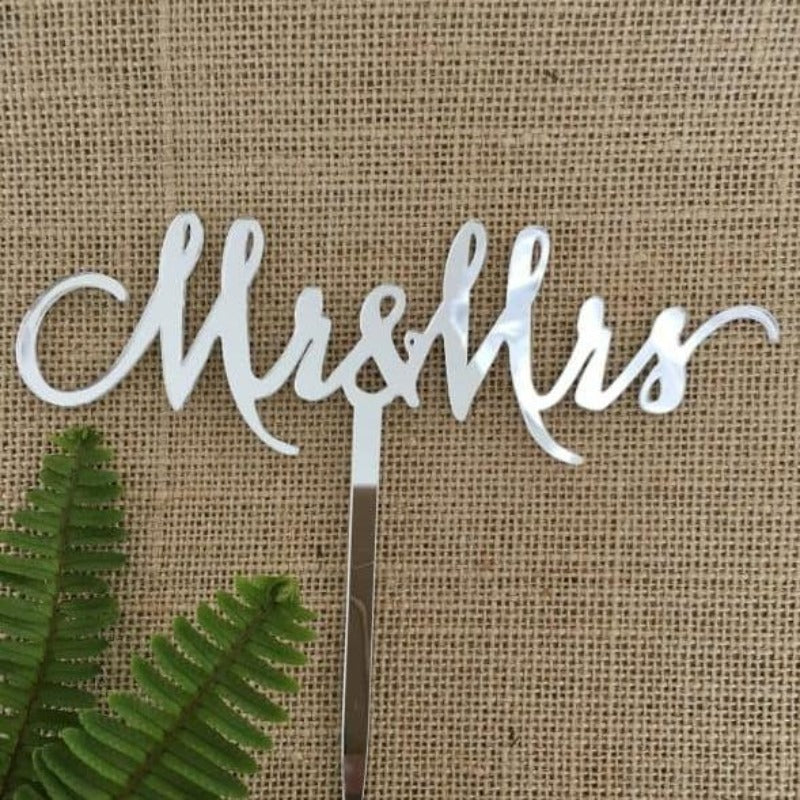 Mr & Mrs (single line) Acrylic Silver Mirror Wedding Cake Topper