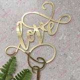 Love (swirl) Acrylic Gold Mirror Engagement Wedding Cake Topper
