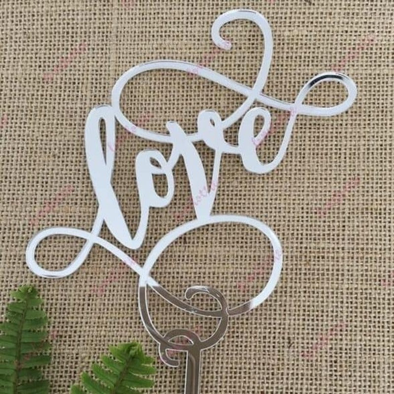 Love (swirl) Acrylic Silver Mirror Engagement Wedding Cake Topper