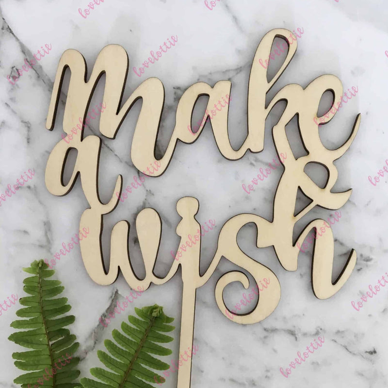 Make A Wish Rustic Wood Birthday Party Cake Topper