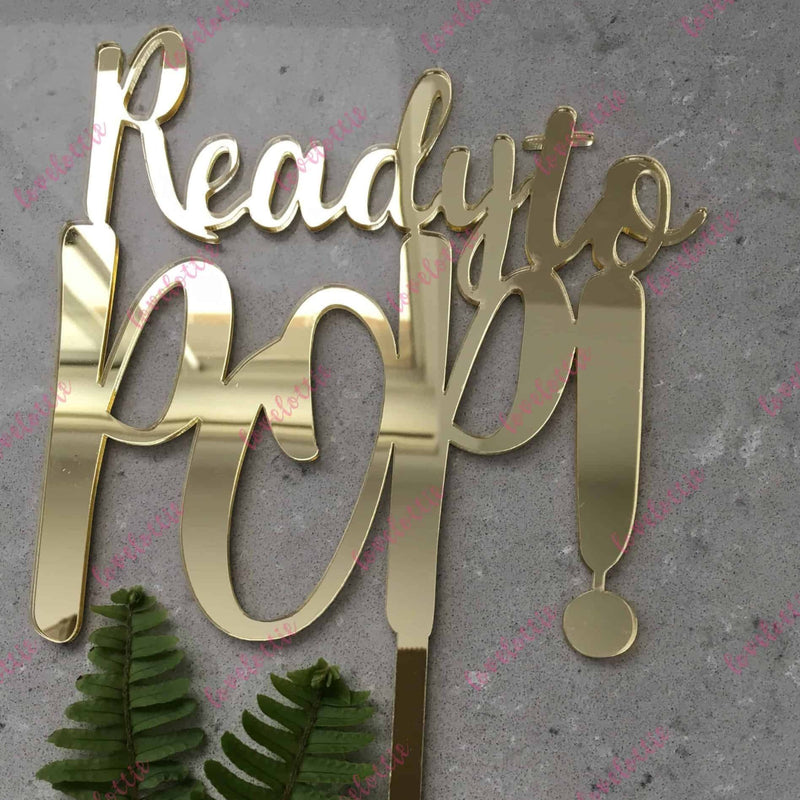 Ready To Pop Acrylic Gold Mirror Baby Shower Cake Topper