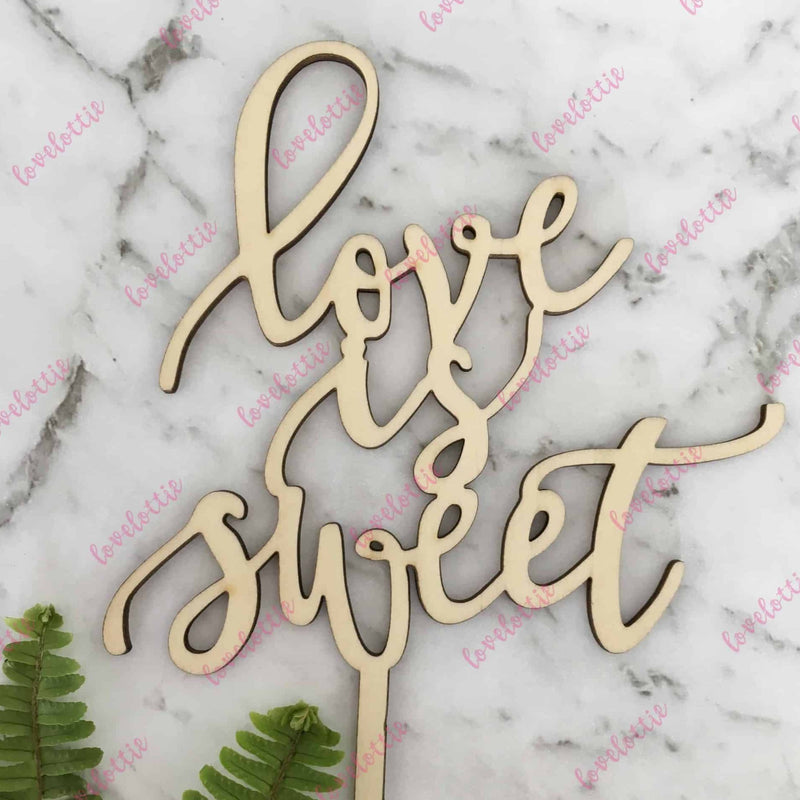 Love Is Sweet Rustic Wood Wedding Engagement Cake Topper