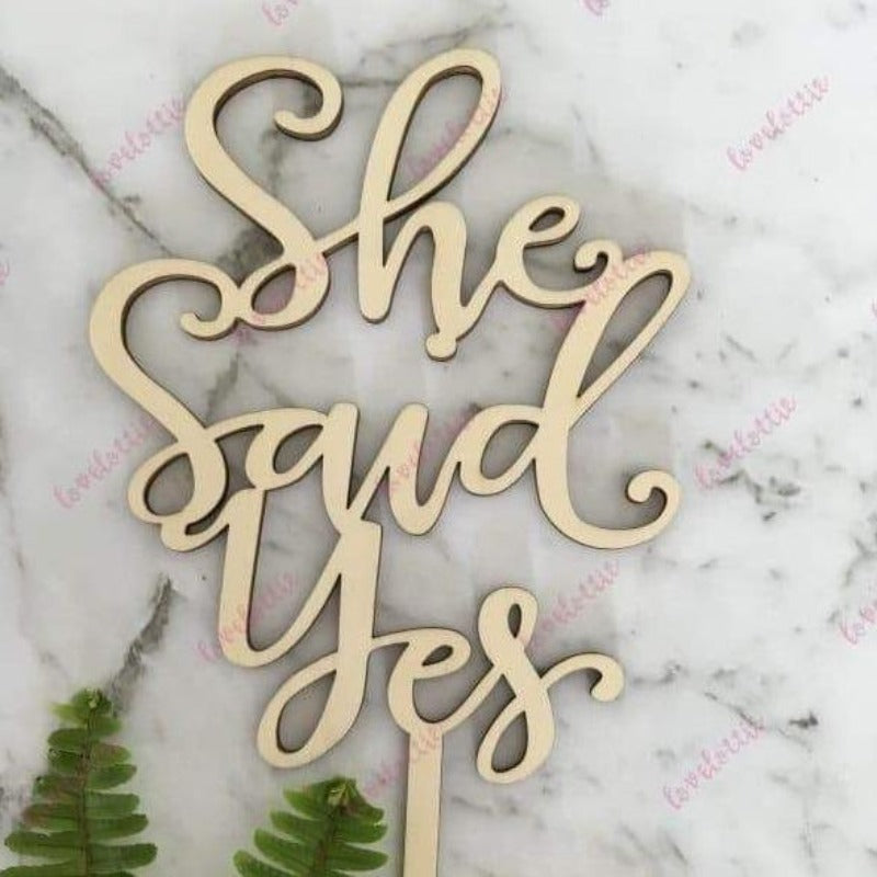 She Said Yes Rustic Wood Engagement Cake Topper
