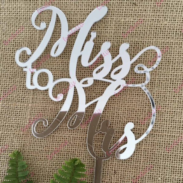 Miss To Mrs Acrylic Silver Mirror Bridal Shower Cake Topper
