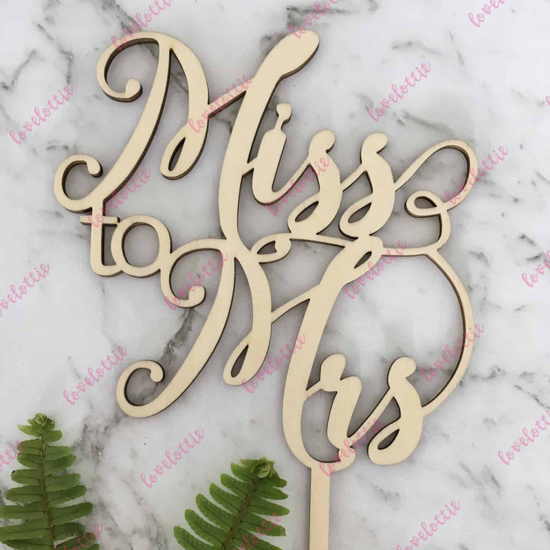 Miss To Mrs Rustic Wood Bridal Shower Cake Topper