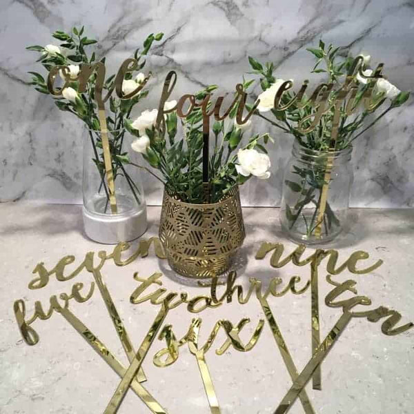 Gold Table Numbers 1 - 15 Mirror Acrylic