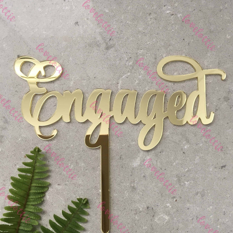 Engaged Acrylic Gold Mirror Engagement Wedding Cake Topper