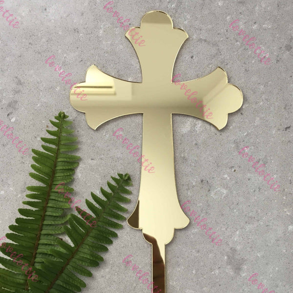 Cross Acrylic Gold Mirror Christening Baptism Cake Topper