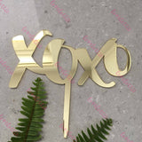 XOXO Acrylic Gold Mirror Wedding Engagement Cake Topper