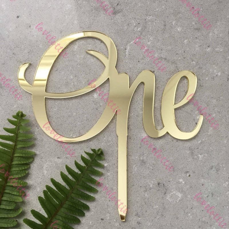 One Acrylic Gold Mirror Cake Topper For First 1st Birthday