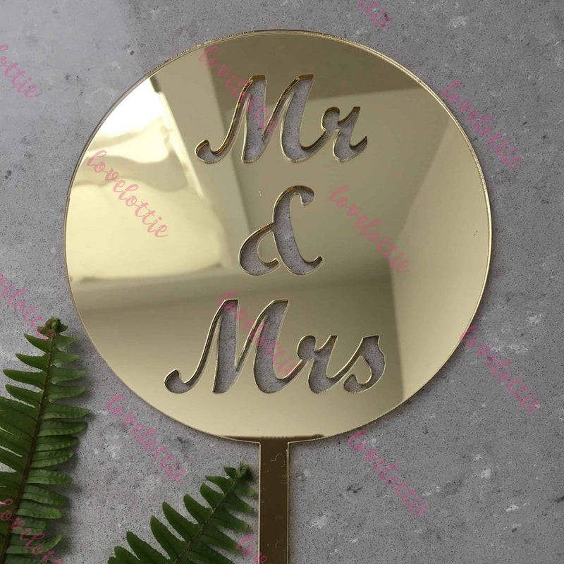 Mr & Mrs Acrylic Gold Mirror Round Wedding Cake Topper