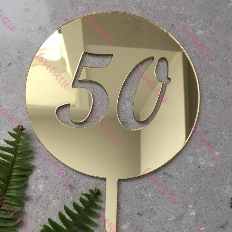 50th Birthday Acrylic Gold Mirror Round Cake Topper