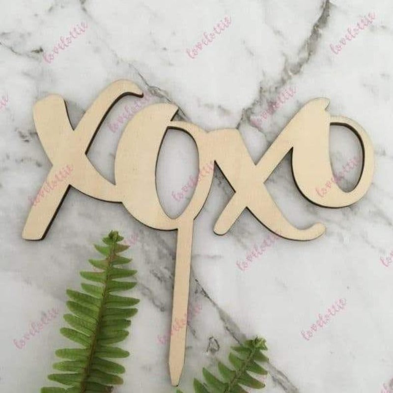 XOXO Rustic Wood Wedding Engagement Cake Topper