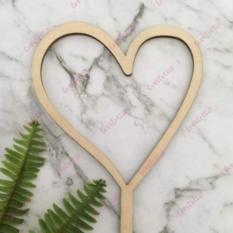 Heart Rustic Wood Wedding Love Engagement Cake Topper