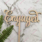 Engaged Rustic Wood Engagement Wedding Cake Topper