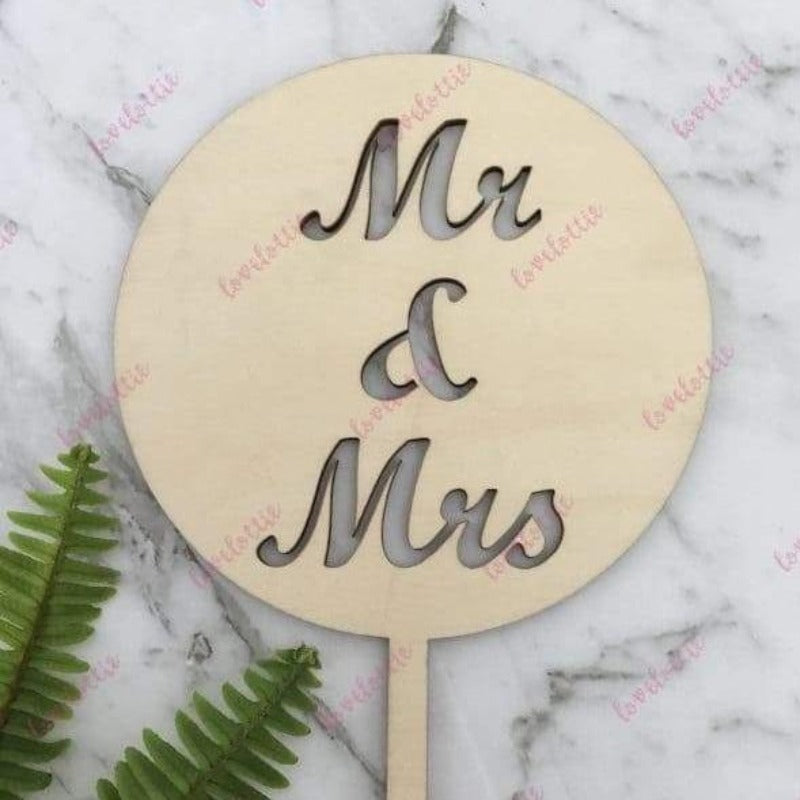 Mr & Mrs Rustic Wood Round Wedding Cake Topper