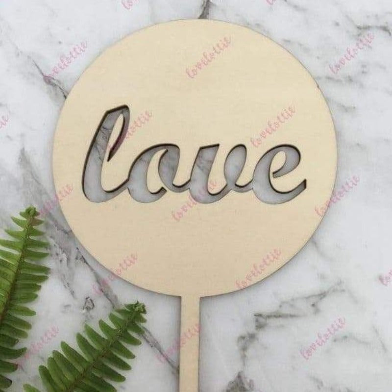 Love Rustic Wood Round Wedding Engagement Cake Topper