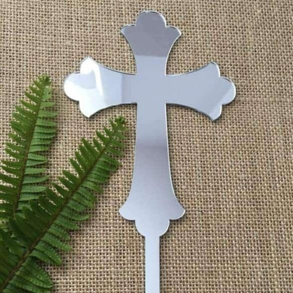 Cross Acrylic Silver Mirror Christening Baptism Cake Topper