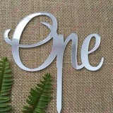 One Acrylic Silver Mirror Cake Topper For First Birthday