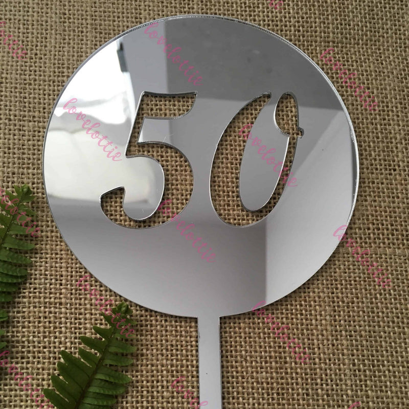 50th Birthday Acrylic Silver Mirror Round Cake Topper