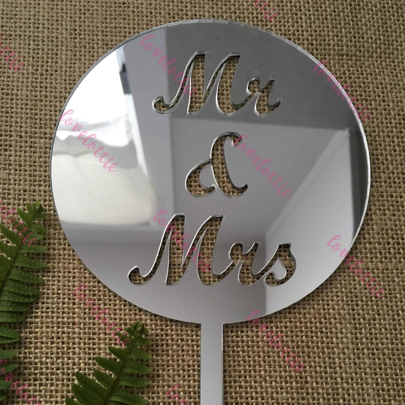 Mr & Mrs Acrylic Silver Mirror Round Wedding Cake Topper