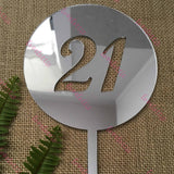 21st Birthday Acrylic Silver Mirror Round Cake Topper