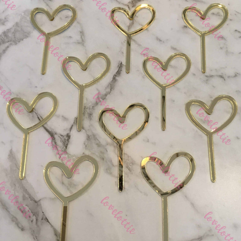 10 x Heart Acrylic Gold Mirror Cupcake Topper For Wedding and Engagement
