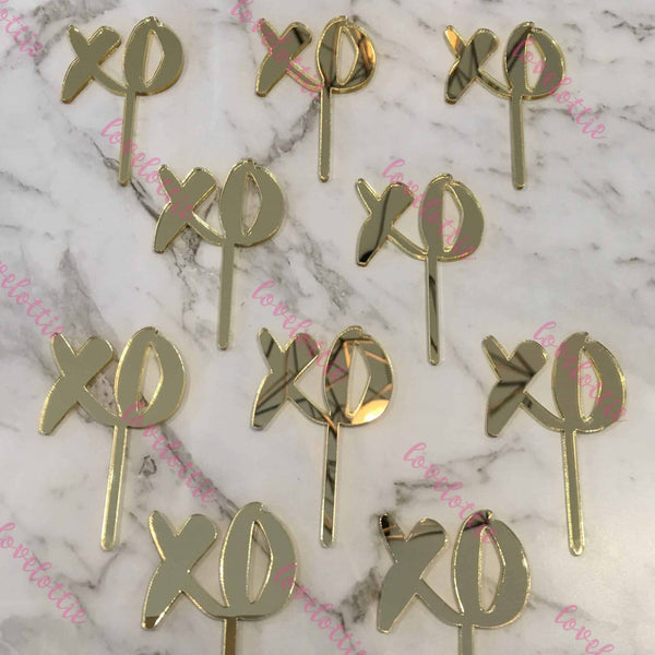 10 x XO Acrylic Gold Mirror Cupcake Topper For Wedding and Engagement