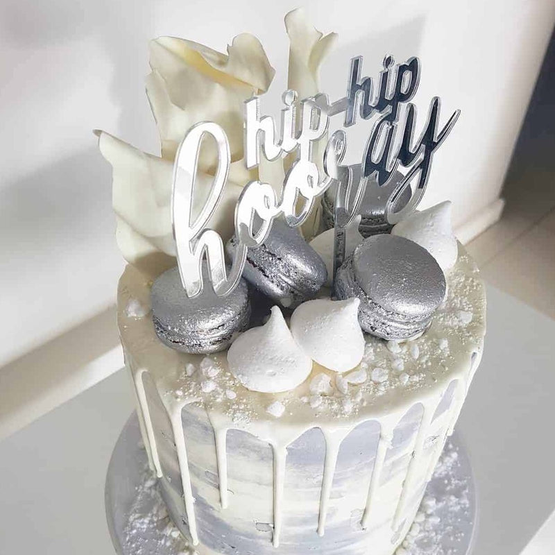 Hip Hip Hooray Acrylic Silver Mirror Birthday Party Cake Topper