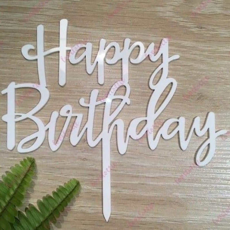 Happy Birthday Acrylic White Gloss Birthday Party Cake Topper