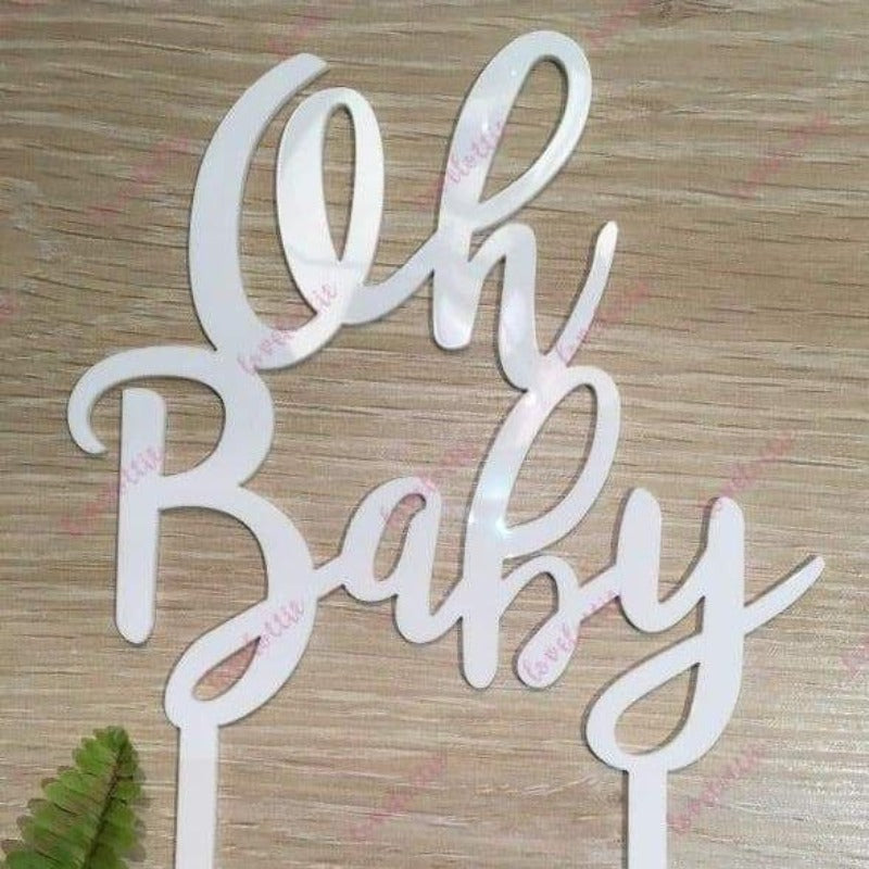 Oh Baby Acrylic White Gloss Baby Shower Cake Topper