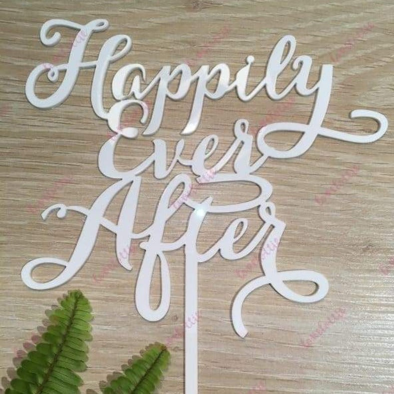 Happily Ever After Acrylic White Gloss Engagement Wedding Cake Topper