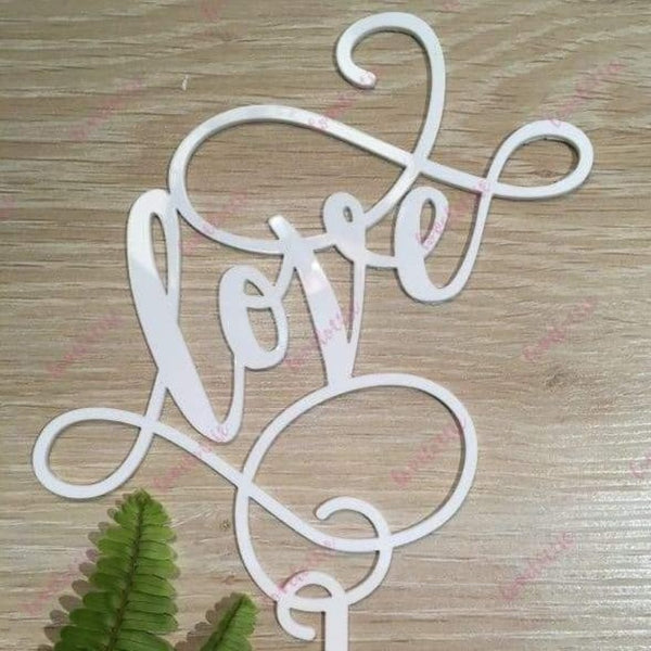 Love (swirl) Acrylic White Gloss Engagement Wedding Cake Topper