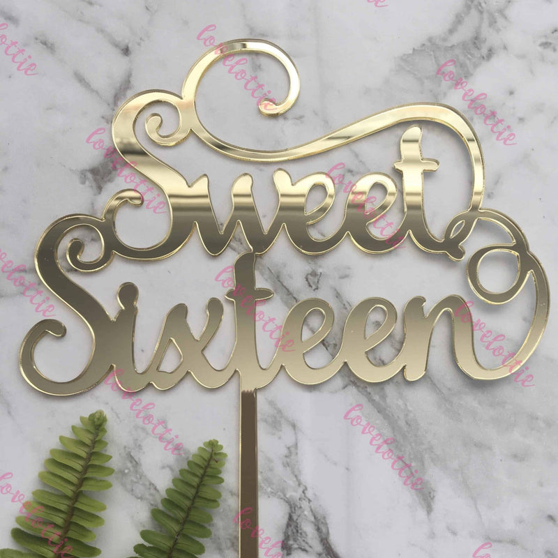 Sweet Sixteen Acrylic Gold Mirror 16th Birthday Cake Topper