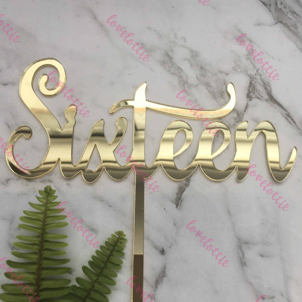 Sixteen Acrylic Gold Mirror 16th Birthday Cake Topper