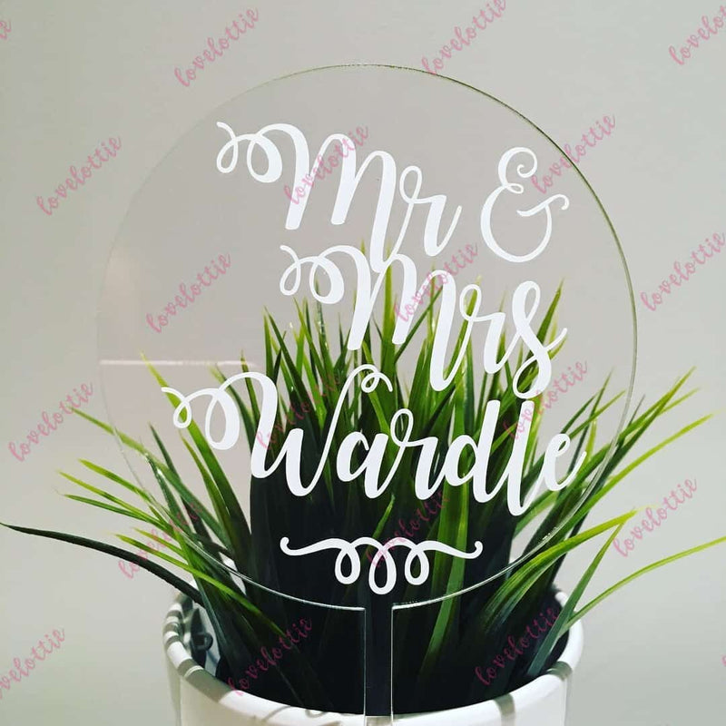 Custom Name Mr & Mrs Acrylic Round Wedding Cake Topper White