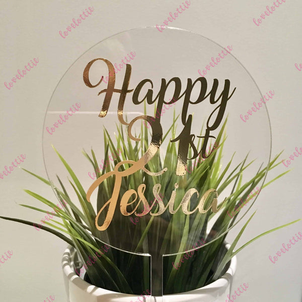 Custom Name Age Acrylic Round Birthday Cake Topper Gold
