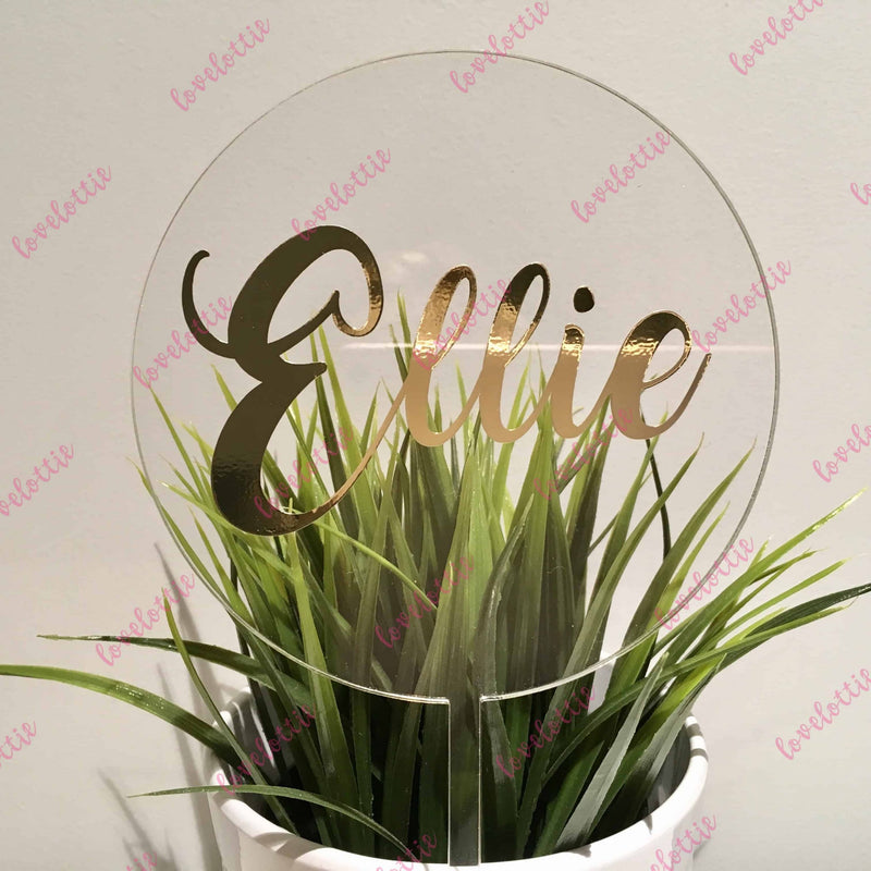 Custom Name Acrylic Round Birthday Cake Topper Gold