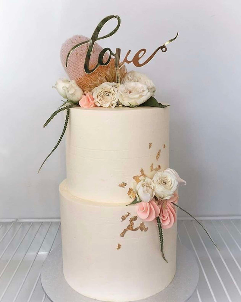 Love Acrylic Gold Mirror Engagement Wedding Cake Topper