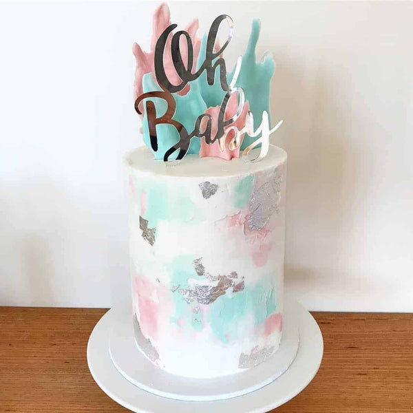 Oh Baby Acrylic Silver Mirror Baby Shower Cake Topper